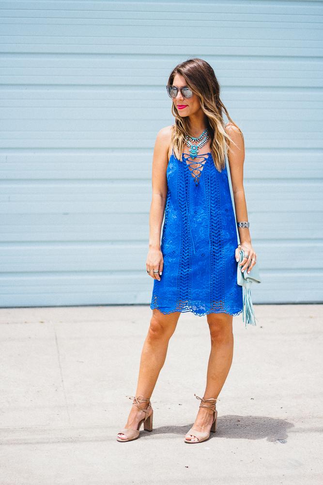 Little Blue Lace-Up Shift Dress